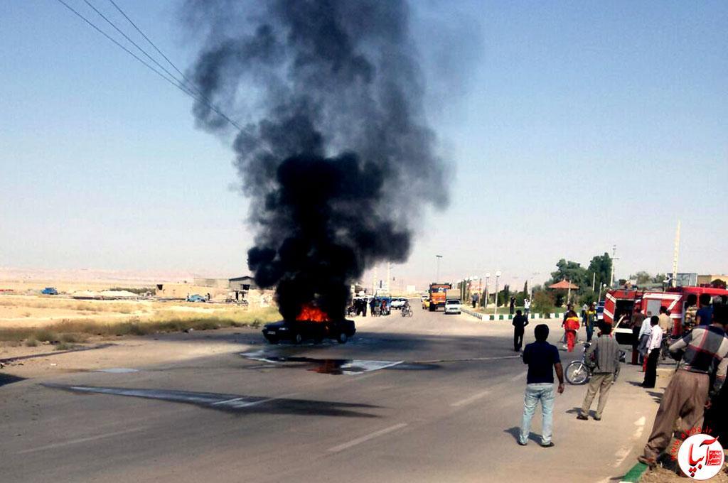 آتش سوزی ماشین در فراشبند