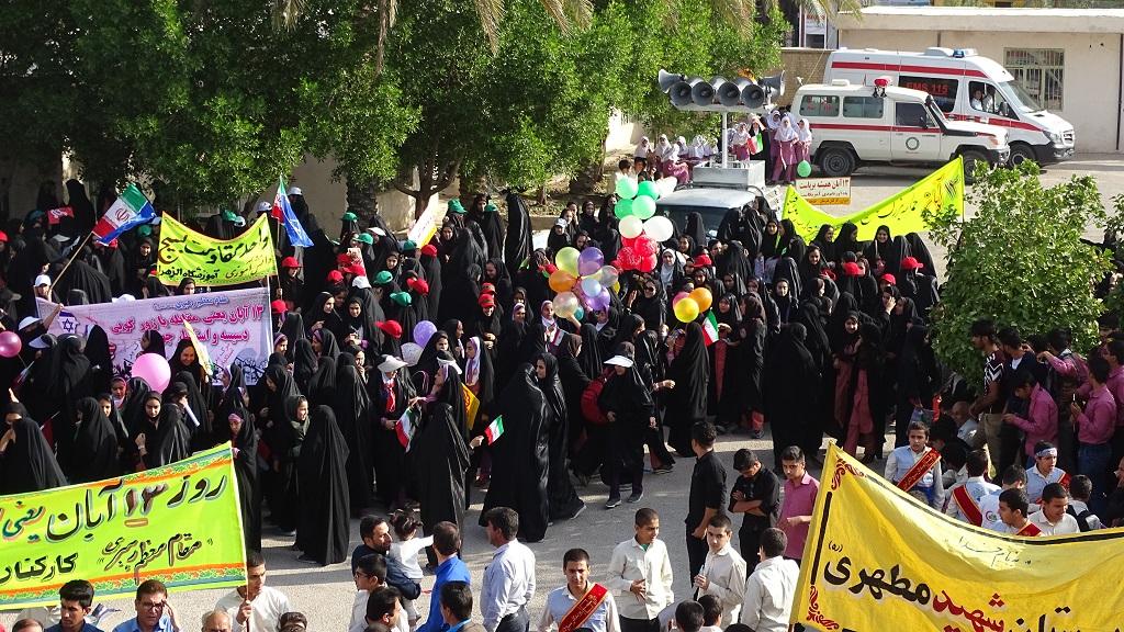 DSC04620 گزارش تصویری از راهپیمایی روز دانش آموز در فراشبند
