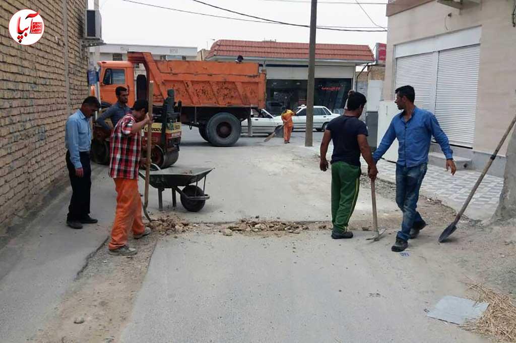 گزارش تصویری از آغاز عملیات لکه گیری و آسفالت معابر سطح شهر فراشبند