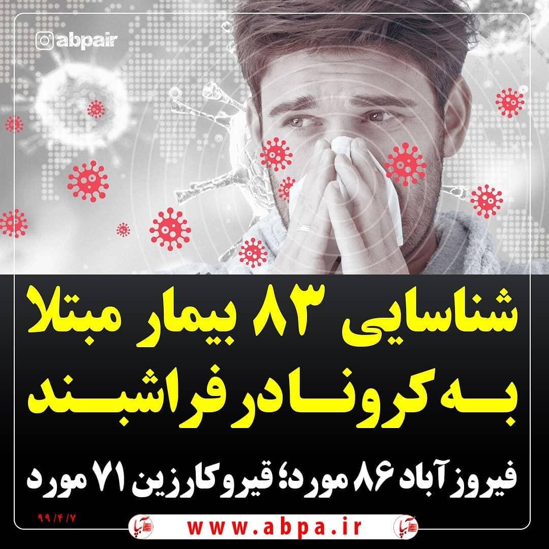 شناسایی ۸۳ بیمار مبتلا به کرونا در #فراشبند ؛ هشتاد و شش مورد در #فیروزآباد و هفتاد و یک مورد در #قیروکارزیندکتر «عبدالرسول همتی» با اعلام هشدار به مردم استان اظهار کرد: از ابتدای شیوع کروناویروس در استان فارس تا کنون، ابتلای ۱۲ هزار و ۷۸۶ بیمار به کووید۱۹ در آزمایشگاه های تخصصی استان، تایید شده است.از مجموع ۱۲ هزار و ۷۸۶ مورد شناسایی شده، پنج هزار و ۷۳۶ مورد مربوط به شیراز؛ مرودشت ۴۶۷ مورد؛ #کازرون ۳۵۸ مورد؛ داراب ۳۲۱ مورد؛ آباده ۱۹۰ مورد؛ زرین دشت ۱۷۸ مورد؛ لامرد ۱۳۰ مورد؛ کوار ۱۲۵ مورد؛ ممسنی ۱۱۶ مورد؛ اقلید ۱۰۷ مورد؛ استهبان ۱۰۲ مورد؛ خرم بید ۹۶ مورد؛ مهر ۹۳ مورد؛ کوه چنار و رستم هر کدام ۸۹ مورد؛ #فیروزآباد ۸۶ مورد؛ #فراشبند ۸۳ مورد؛ زرقان ۸۲ مورد؛ #قیروکارزین ۷۱ مورد؛ سپیدان ۶۱ مورد؛ پاسارگاد ۵۳ مورد؛ ارسنجان ۴۱ مورد؛ سروستان ۳۴ مورد؛ بیضا ۳۲ مورد؛ نی ریز ۳۱ مورد؛ بوانات ۲۶ مورد؛ بختگان ۲۴ مورد؛ خرامه ۱۹ مورد؛ سرچهان ۱۴ مورد بوده و مابقی مبتلایان نیز مربوط به دیگر دانشگاه ها و دانشکده های علوم پزشکی استان است.هم اکنون ۵۰۲ بیمار مشکوک و دارای علامت کروناویروس در بخش های مختلف بیمارستان های سطح استان بستری هستند که از این تعداد، ۶۸ بیمار به دلیل وخامت شرایط جسمی در بخش مراقبت های ویژه به سر می برند/۷ تیرماه ۹۹@abpair